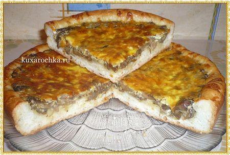 Грибной пирог с сыром