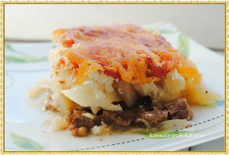 Запеченное мясо с картошкой под сыром