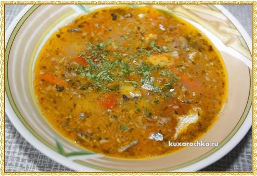 Суп рисовый с рыбными консервами