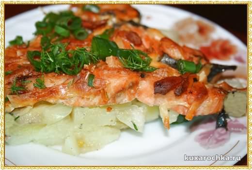 Запеченная семга с картофелем