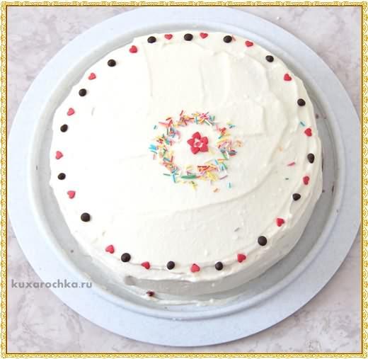 Торт на сковороде с творожным кремом