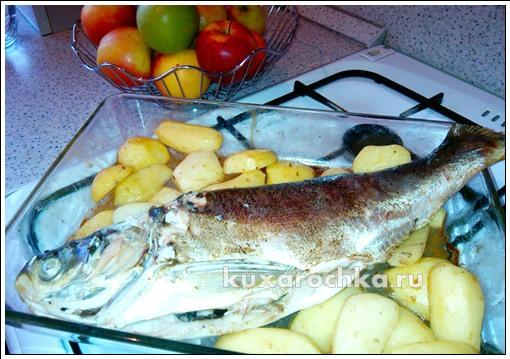 Рыба запеченная с яблоками и картофелем